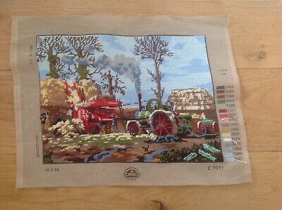 Vintage Tapestry Steam Tractor Farmyard Embroidery Needlepoint DMC 1998 VGC