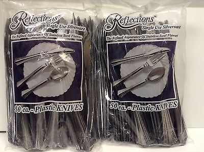 100 Silver Plastic Reflection Knives Disposable Cutlery With A Silverware Look