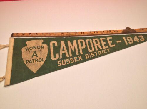 """Pennant Felt - Morris/Sussex Council, NJ - 1943 Camporee - Honor """"A"""" Patrol"""