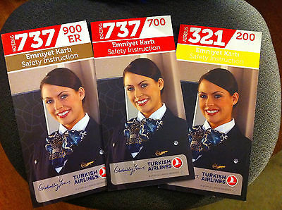 Turkish Airlines B737 700  B737 900  Airbus A321 Safety Cards Turkey New Logo