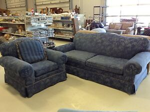 Blue Couch with Matching Chair