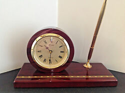 Seiko Executive Desk Set Clock and Pen Mahogany Finish QXG326BLH Vintage