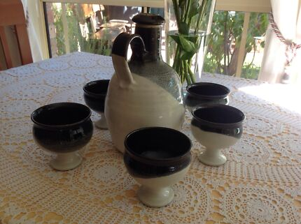 Pottery wine jug with 5 goblets Yowie Bay Sutherland Area Preview