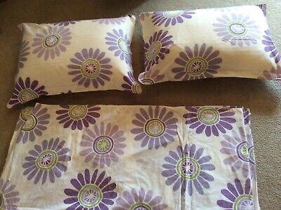 The Land Of Nod Full/Queen Duvet Matching Shams Purple Floral 100% Cotton