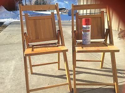 Primitive Vintage Used Tucker Wood Folding Chair Children's kids chairs SET OF 2