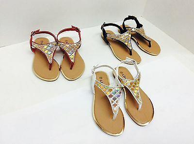 New Girls Thong Sandals Rhinestone Metallic Strap Black White Red sz 9-3 on - Girls On Sale