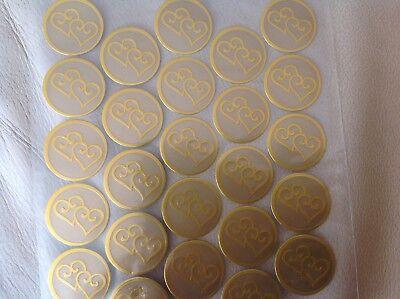 Wedding Sticker Seals Gold pack of 25