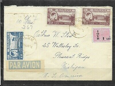 1948 Romania Airmail Cover To Michigan King Michael & IOVR Stamps 2 Back-stamps