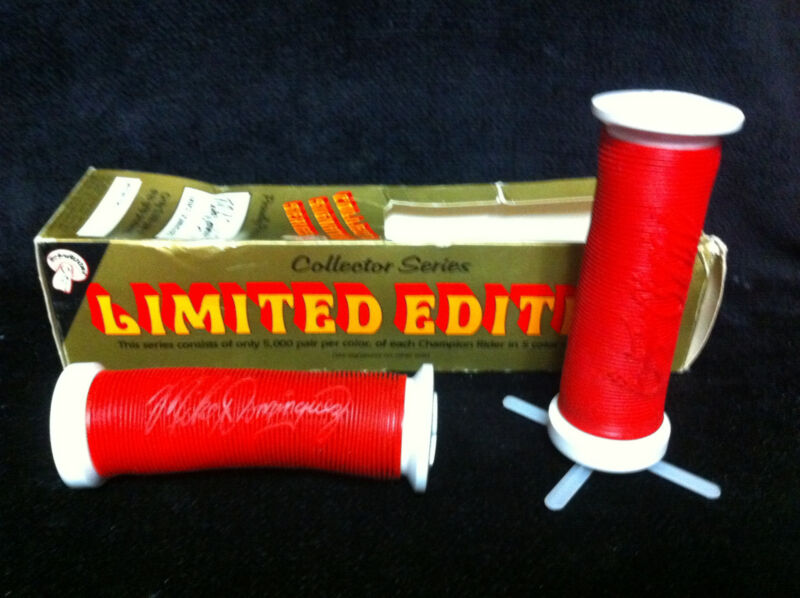 Rare NOS Red / White MIKE DOMINGUEZ ODI MUSHROOM GRIPS Old School BMX #C1778