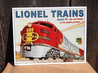 Lionel Trains Santa Fe Red Streak Sign Tin Vintage Garage Bar Decor Old ](Train Decor)