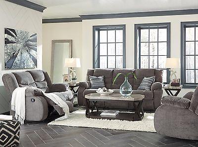 Ashley Furniture Tulen Reclining Sofa And Loveseat W Chennile Fabric 9860688