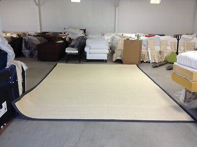 Ballard Designs Light Sisal Rug Indoor Area Carpet Rug Gray Border 10x14