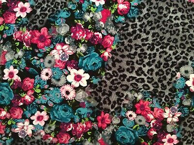 Cheetah pink blue rose flowers rayon fabric on gray, 59