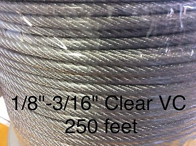 Vinyl Cables (Vinyl Coated Steel Aircraft Cable Wire Rope 250' 1/8