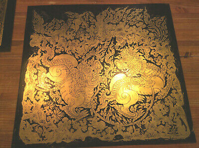 99% real gold - Gilded Black Lacquer with gold leaf on wood no frame