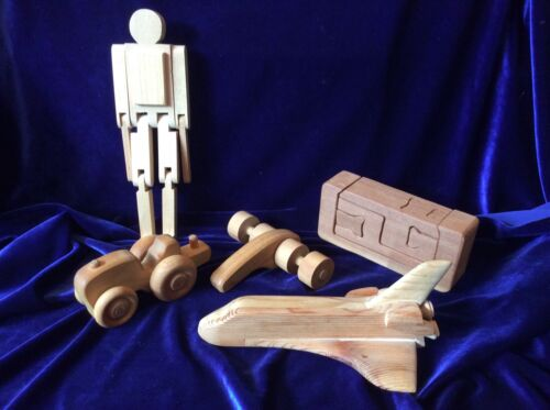 Vintage WOODEN TOYS Handmade childs toy space shuttle, vehicle & more