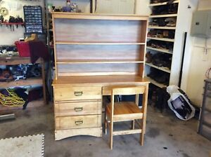Solid wood desk with chair