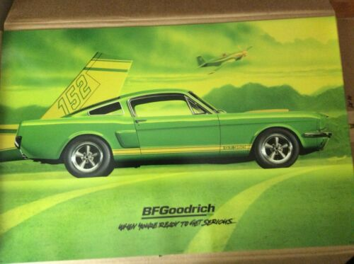 ORIGINAL BFGoodrich poster FORD 1966 LIME GREEN MUSTANG SHELLBY GT350