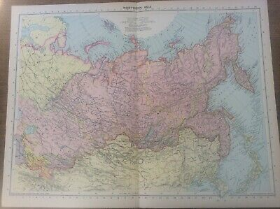 Vintage Antique 1939 Philips Map 20x15 Northern Asia