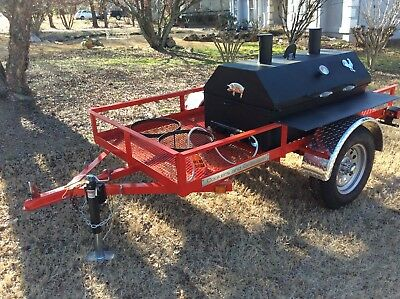 Bbq Pit Smoker W Gas Trailer Mounted Bbq Propane Burners Catering Fund Raiser
