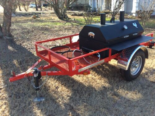 Bbq Pit Smoker W/ Gas! Trailer Mounted Bbq, Propane Burners Catering Fund Raiser