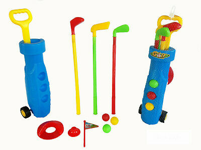 Childrens Golf Set Plastic Golf Clubs Balls Caddy Kids Toy Summer Garden Fun 872