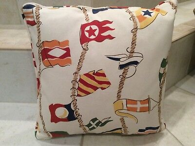 "Outdoor Decorative Square Pillow Nautical flag Schumacher print 16"" Brand New"