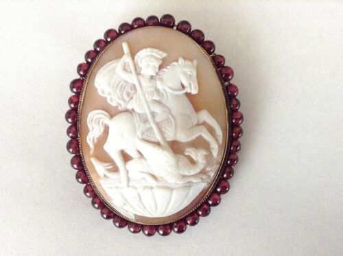 Antique 14K Hand Carved Shell Cameo -Mythological Scene- Garnet Frame Brooch