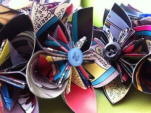 Paper Flower Bouquets Made From Comic Books Etc For Weddings Birthdays Gifts