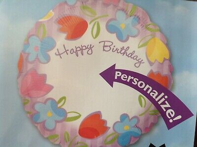 foil Happy Birthday Balloon personalise using marker with any name #15790