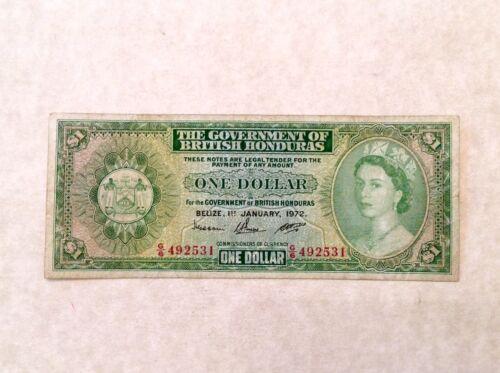 - 1972  British Honduras One $1 Dollar Elizabeth II   P 28c