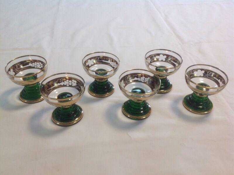 Vintage Green W/Gold Trim Austrian Boehm Stemmed Cordial Glasses W/Etched Grapes