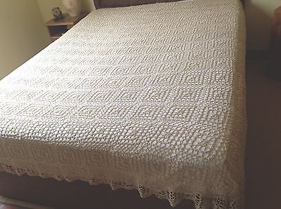 Vintage Large Hand Crochet Taupe Cotton Bed Cover / Throw 110x88 Inches Kingsize
