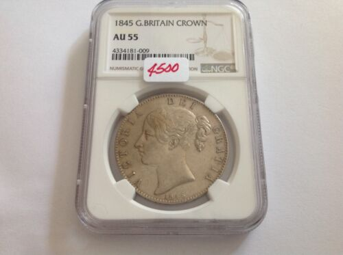 1845 Great Britain Crown NGC AU 55