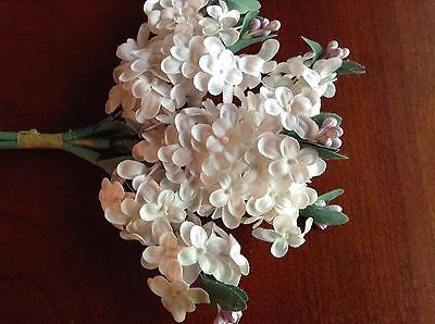 Vintage Millinery Flower Lilac Cluster Ivory White For Hat Wedding + Hair  K54