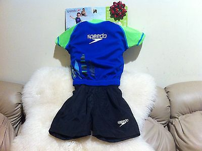 NEW Speedo Kids Royal/Lime Uv 2-piece Flotation Suit Size S/M for age 1-2 ()