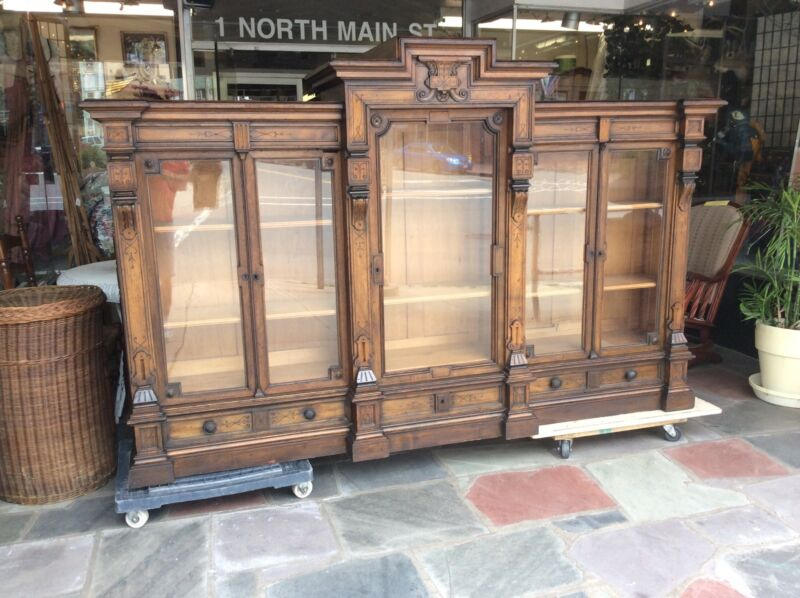 Antique Renaissance Victorian Carved Walnut Bookcase 8