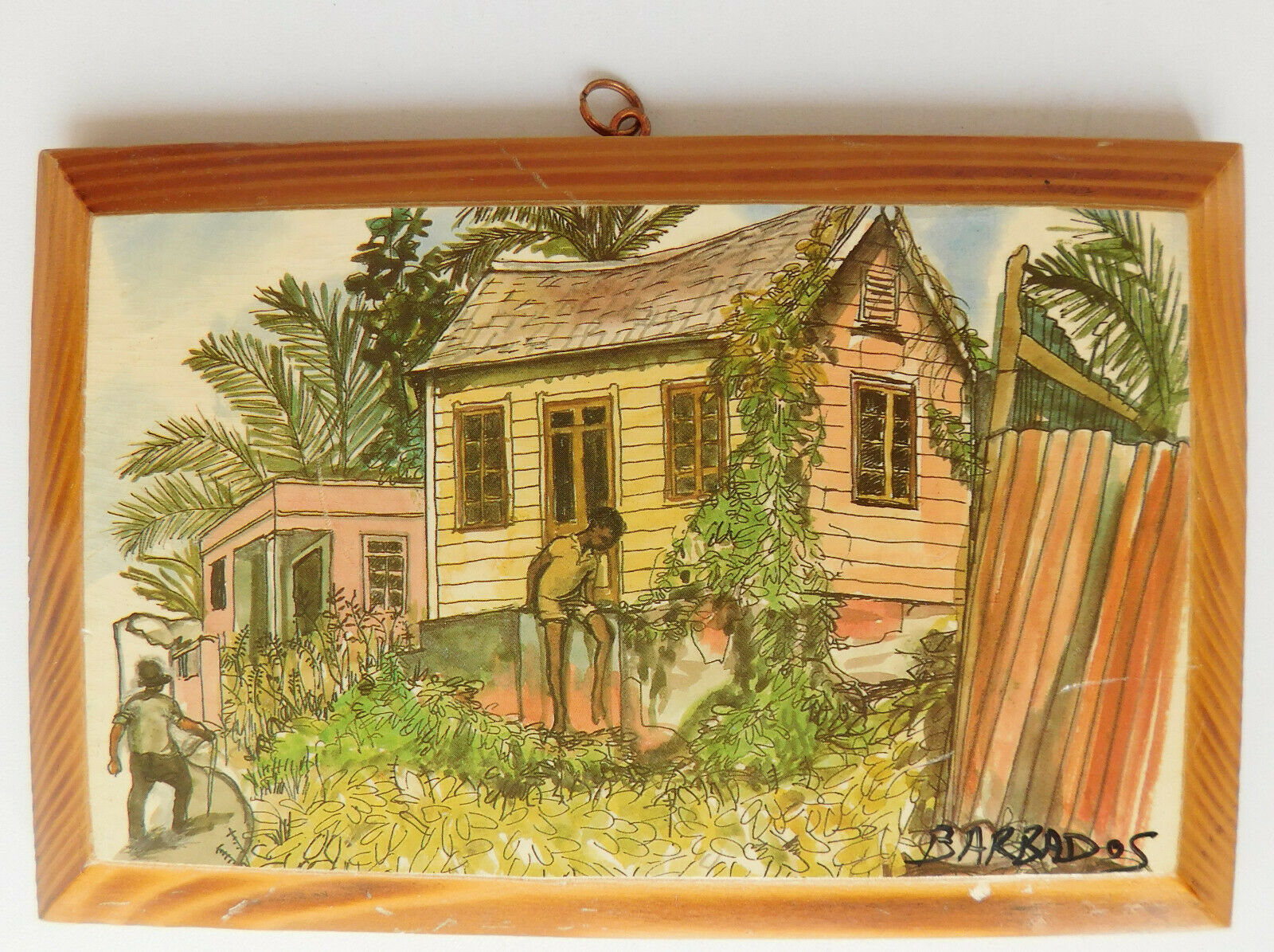 Picture of Barbados on wooden wall plaque vintage Caribbean art tourist souvenir