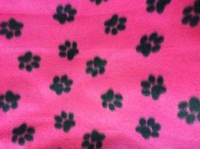 rare hot pink fuschia black paw print  fleece fabric  60