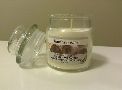 Luminessence FRESH LINEN Scented 3 OZ Candle WHITE SOY WAX Mini Glass Tumbler