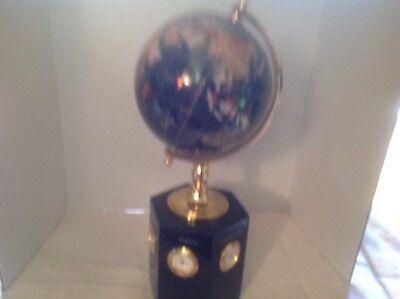 Collectible blue lapis gemstone globe with 6 world clocks 11
