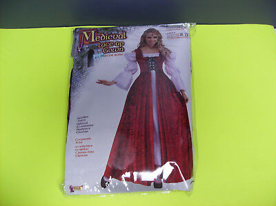 MEDIEVAL LACE UP GOWN RED DRESS MIDEVIL WOMEN HALLOWEEN COSTUME UP TO - Red Medieval Dress Costume