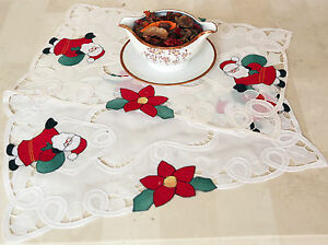Vintage christmas battenburg lace santa 12x18 placemat for 12 days of christmas table cloth