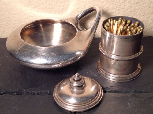 Authentic BVLGARI Sterling ASHTRAY & MATCH STICK HOLDER No Monograms VINTAGE