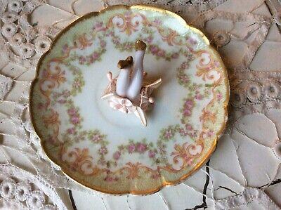 Ring Holder Legs Dish, Antique Limoges, Antique Porcelain Legs, Ribbon Work