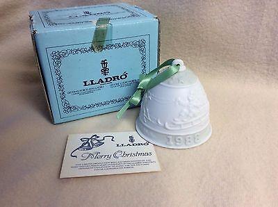 Lladro 1988 Bell Christmas Ornament with satin ribbon hanger~Lladro Box and Card