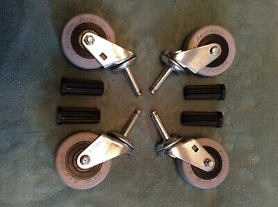 4 Pack 3 Inch Caster Wheels Swivel Plate With Stem On Grey Tpr Rubber