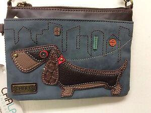 Chala Mini Crossbody Dachshund Small Purse Wiener Dog Indigo Blue New