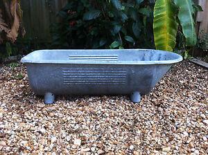 antique victorian galvanized steel baby bath tub home decor footed german ebay. Black Bedroom Furniture Sets. Home Design Ideas