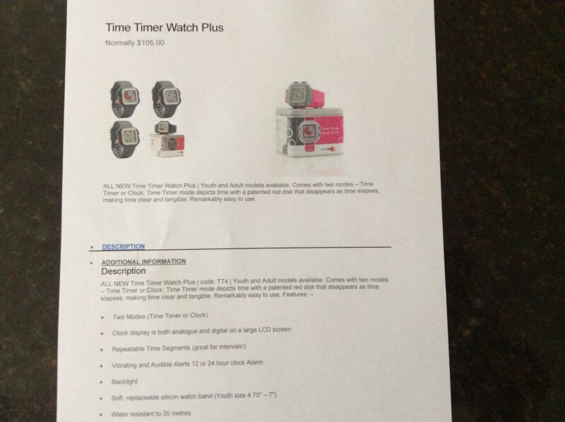 Time Timer watch plus kids with special needs